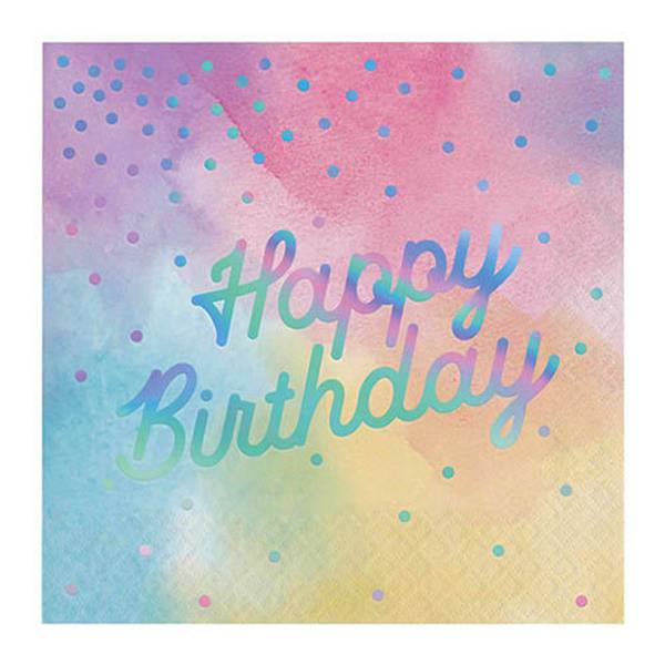 Bilde av Pastell, Happy Birthday Servietter