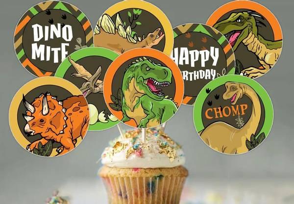 Bilde av Skummel Dinosaur, Cupcaketoppers, 8 stk