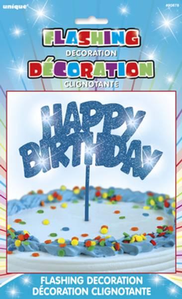 Bilde av Happy Birthday, Blinkende LED, Kaketopper, Blå