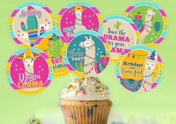 Bilde av Lama, Cupcaketoppers, 8 stk