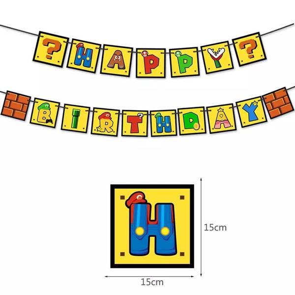 Bilde av Super Mario inspirert Happy Birthday, banner