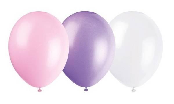 Bilde av Ballonger, Hvit-Lilla-Rosa, 10 stk
