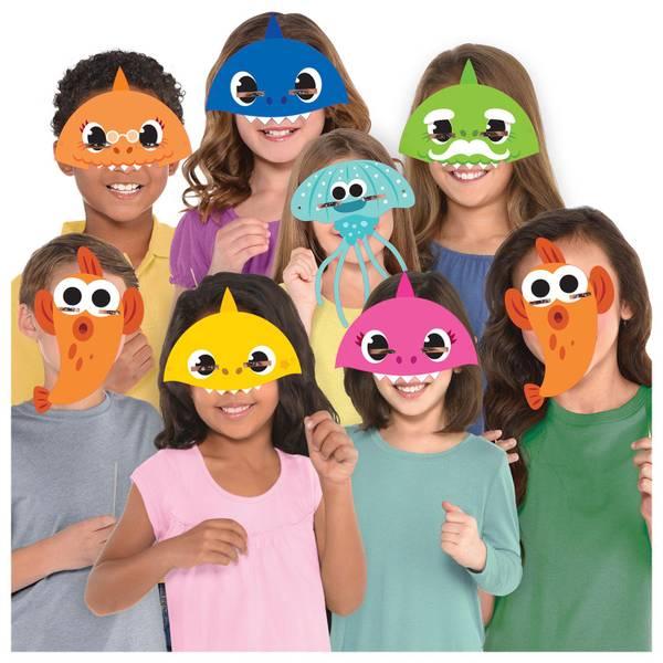 Bilde av Baby Shark Party Masker, 8 stk