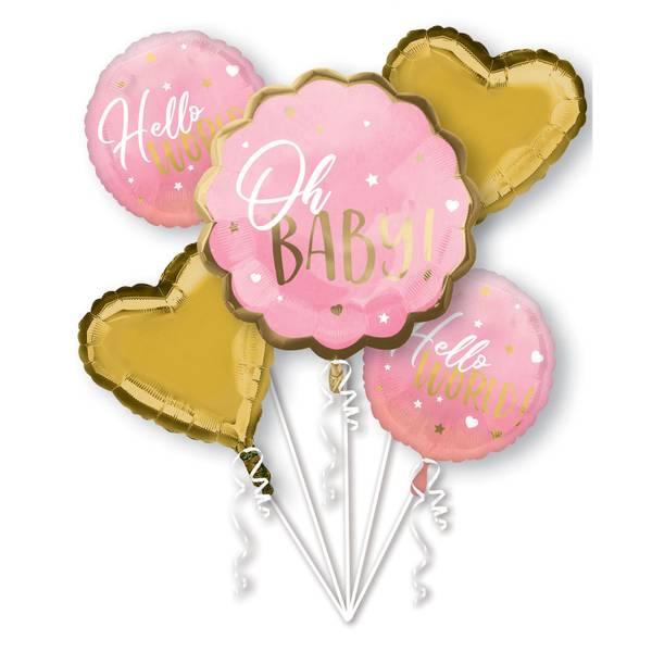Bilde av Baby Girl, Folieballongbukett, 5 stk