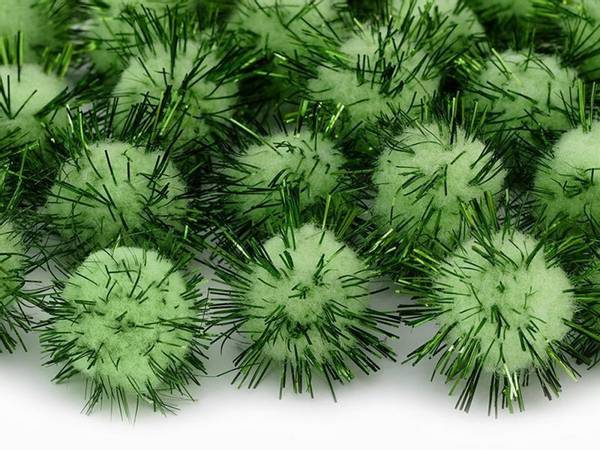 Bilde av Grønne Pomponer Med Glitter