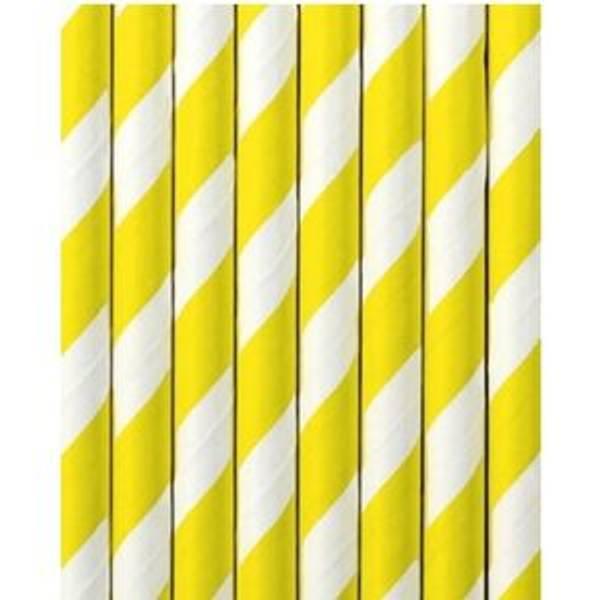 Bilde av Papirsugerør, Gul m/striper