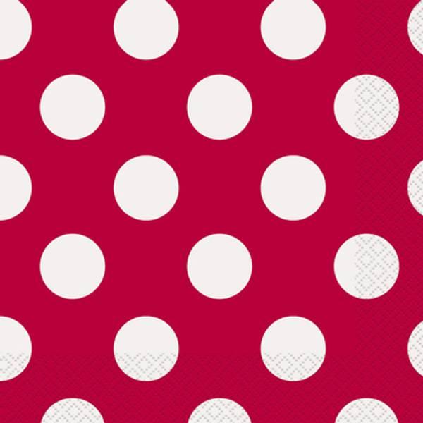 Bilde av Rød, Dots, Servietter, 16stk