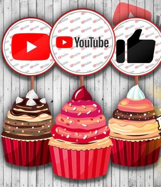 Bilde av YouTube, Cupcaketoppers, 12 stk