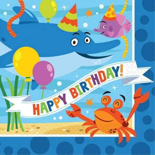Bilde av Hai Happy Birthday, Cafeservietter