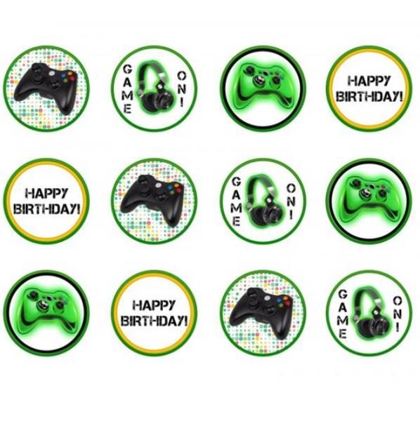 Bilde av Gaming, Cupcake toppere, Grønn , 8stk