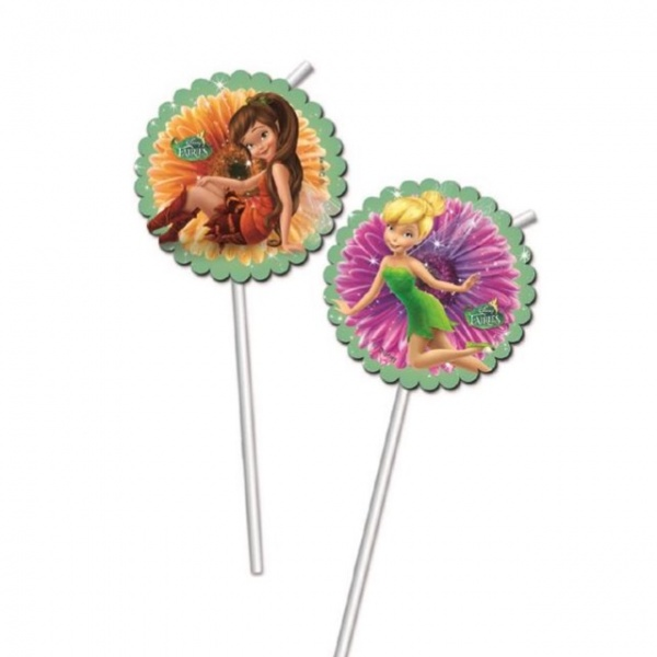 Bilde av Disney Fairies Sugerør m/dekor, 6 stk
