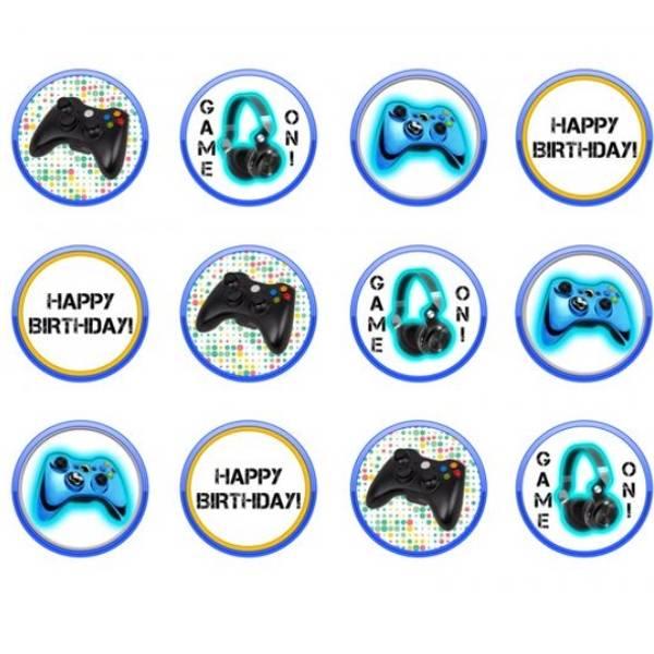 Bilde av Gaming, Muffinsbilder, Blå, 12stk