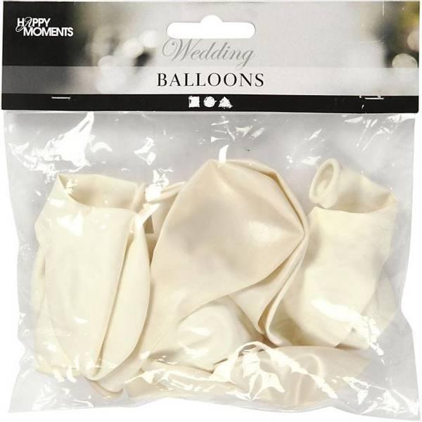 Bilde av Hvite og Perlemor Ballonger, 10 stk