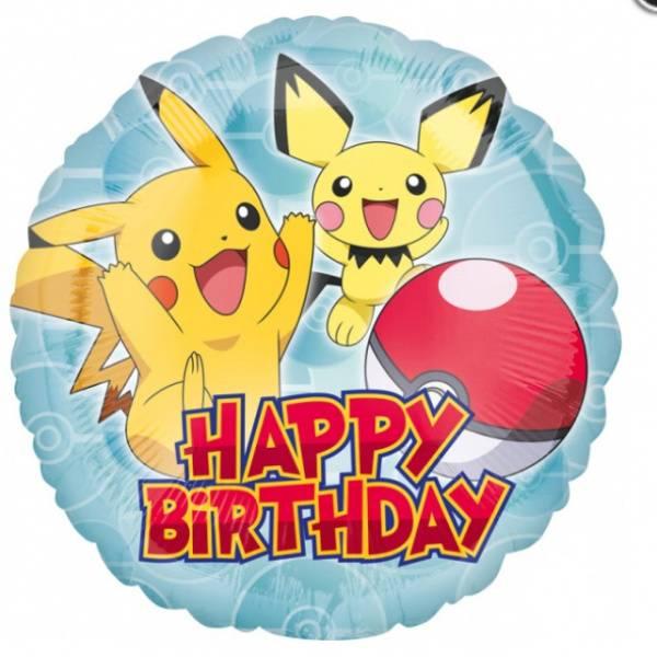 Bilde av Pokemon, Folieballong, Happy Birthday, 43cm
