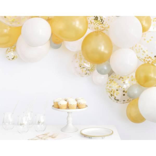 Bilde av Gull, sølv, hvit ballongbue m/konfetti