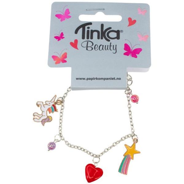 Bilde av Armbånd med unicorn, hjerte og regnbue.