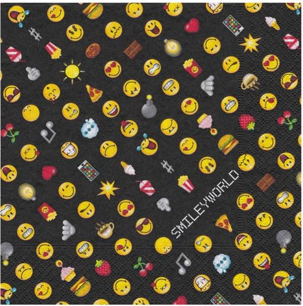 Bilde av Emoji Smiley Servietter, svart, 20 stk