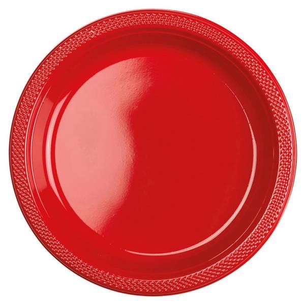 Bilde av Røde Plast Tallerkener, 20 stk, 23 cm