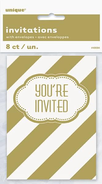 Bilde av Gull og hvit invitasjoner