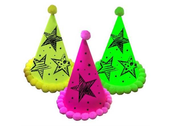 Bilde av Neon Party Hatter, 3 stk