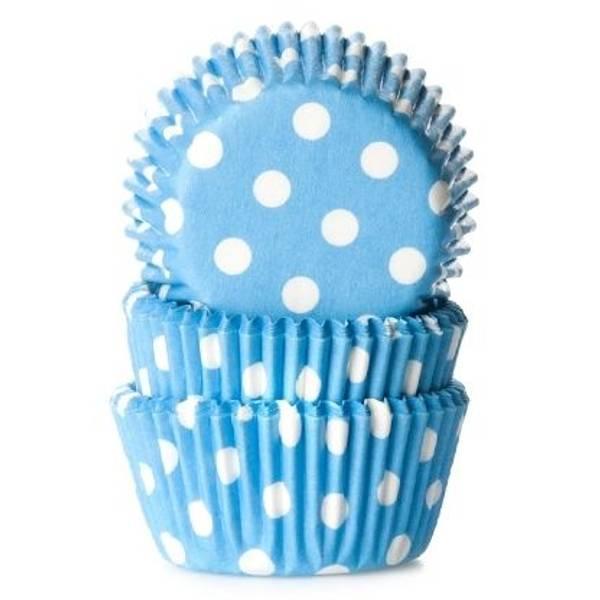 Bilde av Polkdotblå, Muffinsformer, 60 stk