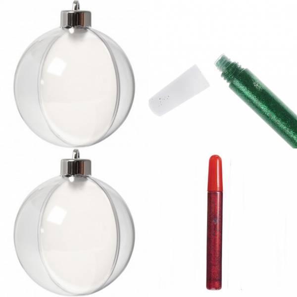 Bilde av Deco, Kule,  8 cm/ Kommer med Glitterlim i rød og grønn,  2 stk