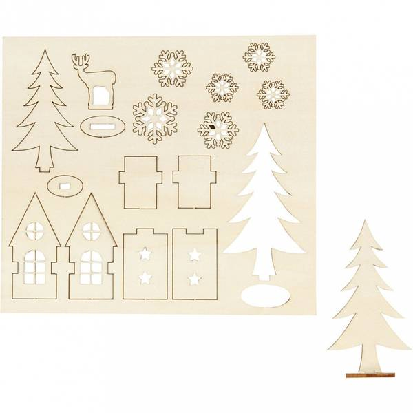 Bilde av Sett-sammen Selv Trefigur, Hus, Tre, Rådyr