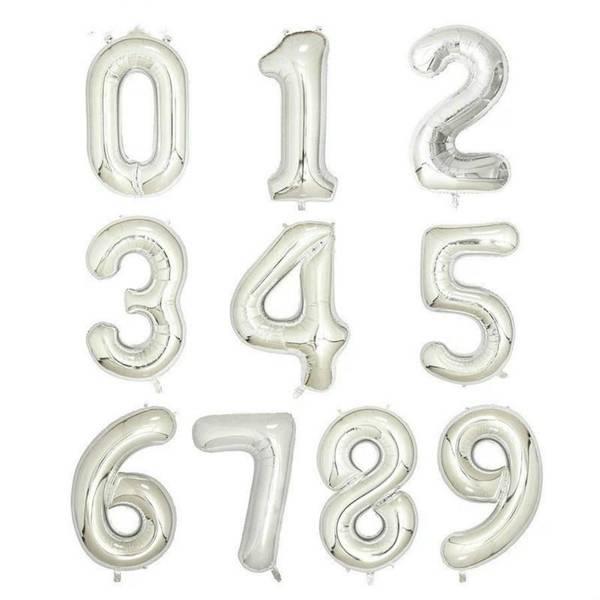 Bilde av Tallballong Sølv 0-9 Hengende