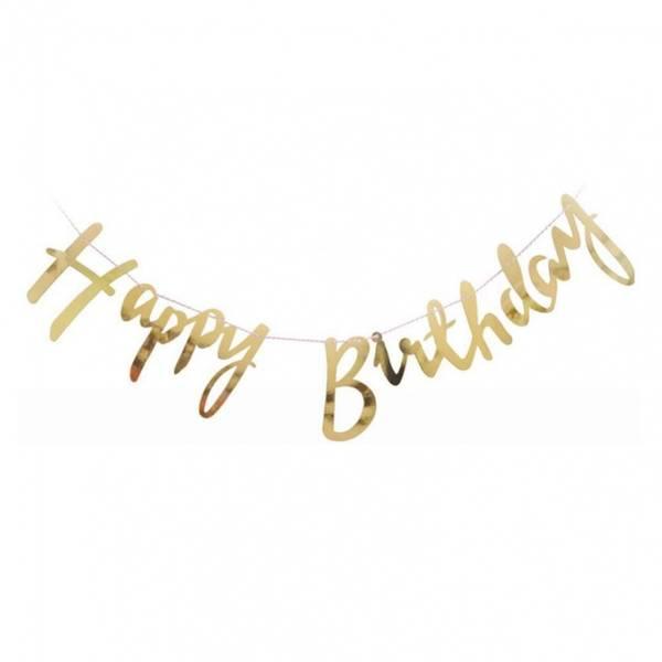 Bilde av Dekorativt Happy Birthday Banner, Gull/Sølv