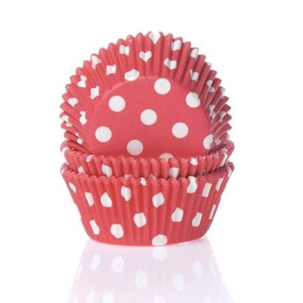 Bilde av Rød Polkadots, Cupcakeformer, 50stk