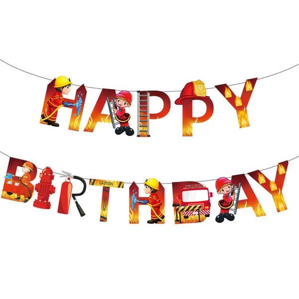 Bilde av Brannmann, Happy Birthday Banner