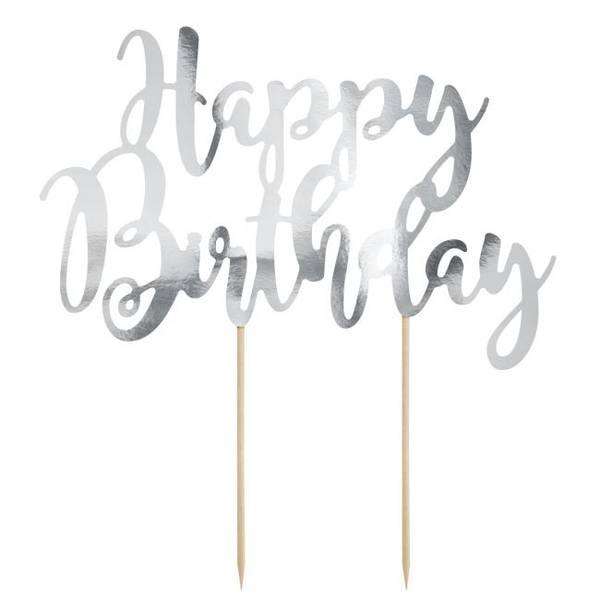 Bilde av Happy Birthday, Kaketopper i Sølv