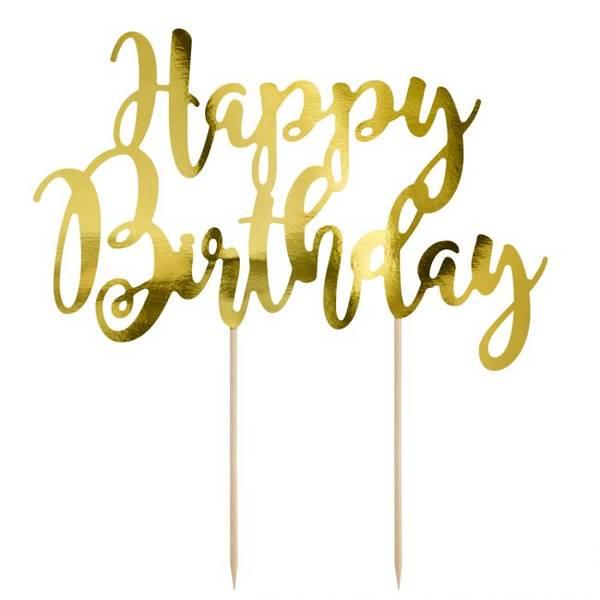 Bilde av Happy Birthday, Kaketopper i Gull