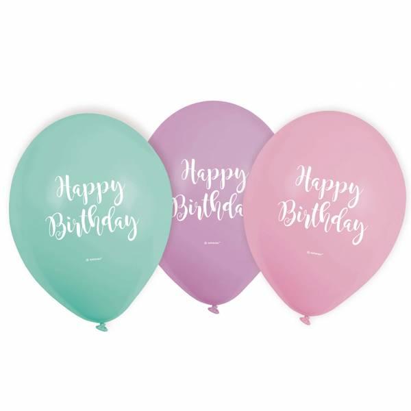 Bilde av Pastell, Happy Birthday, Ballonger, 6stk