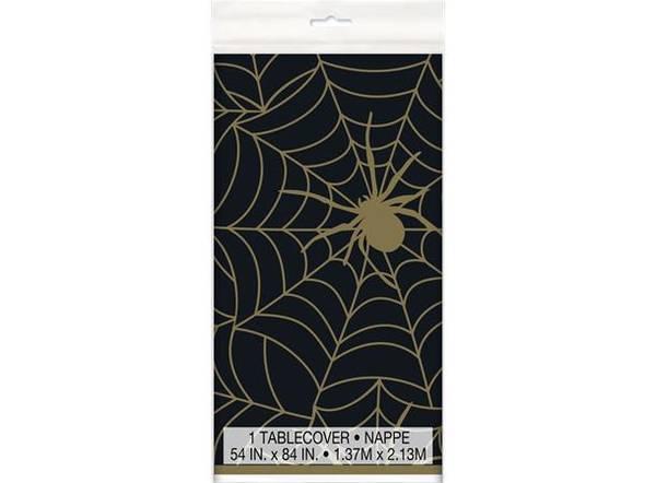 Bilde av Halloween Edderkoppnett duk med gull detaljer, 137cm x 213cm