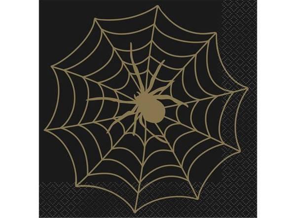 Bilde av Halloween Edderkoppnett Servietter med gull detaljer, 16 stk