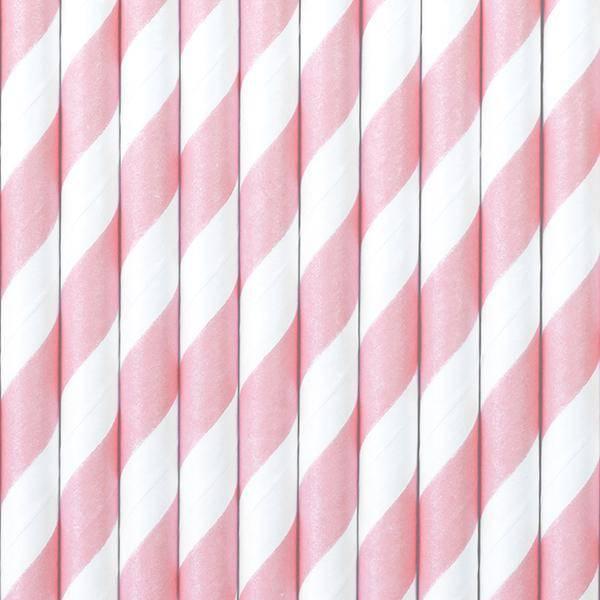 Bilde av Sugerør-lys rosa og hvit,10stk