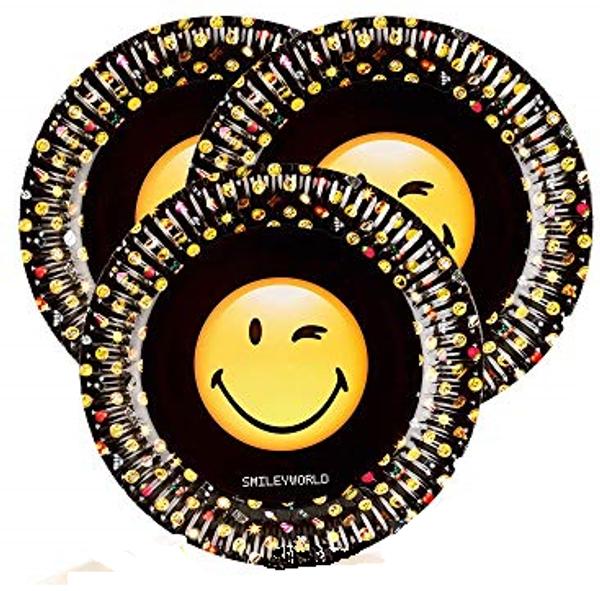 Bilde av Emoji smiley tallerken, svart, 8 stk
