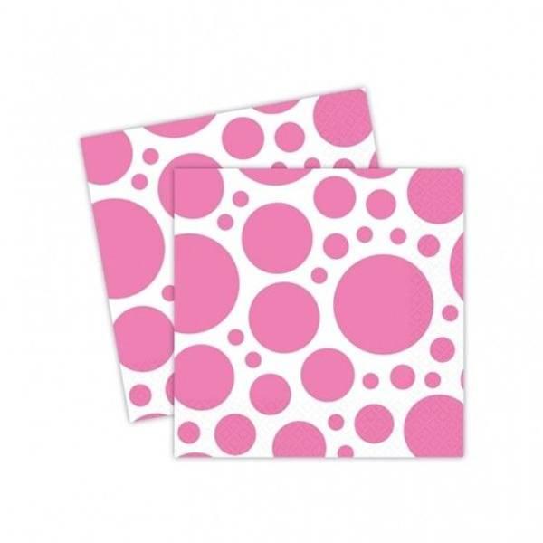 Bilde av Neon Rosa Servietter med store prikker, 20 stk