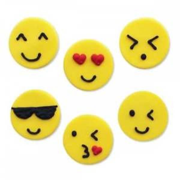 Bilde av Sukkerpynt, Emoji, 6 stk