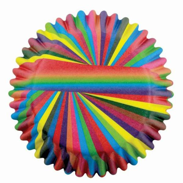 Bilde av Regnbue Striper, Cupcakeformer, 60stk