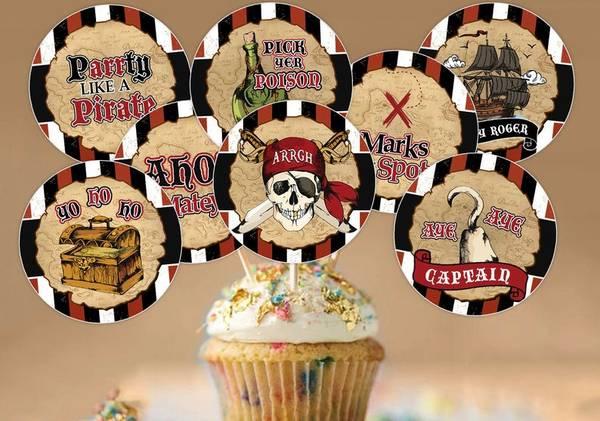 Bilde av Pirat, Cupcaketoppers, 8 stk