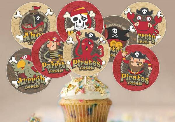 Bilde av Pirat, Cupcaketoppers2, 8 stk