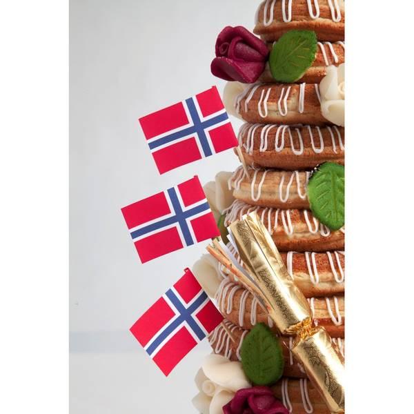 Bilde av Norgesflagg, Toppers, 12 stk