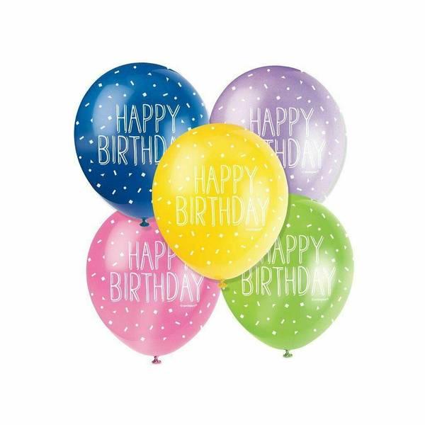 Bilde av Happy Birthday Ballonger Assortert 5stk