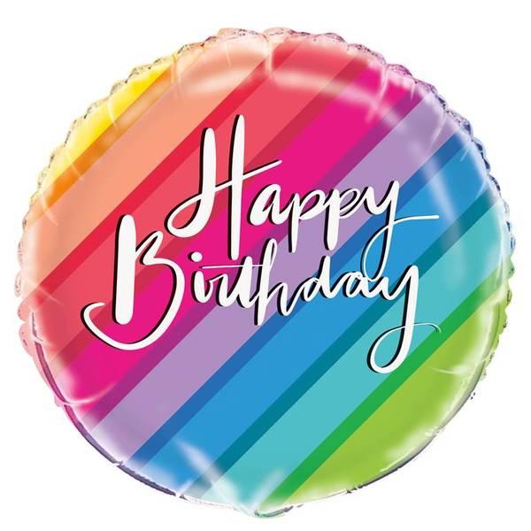 Bilde av Regnbue Happy Birthday Folieballong