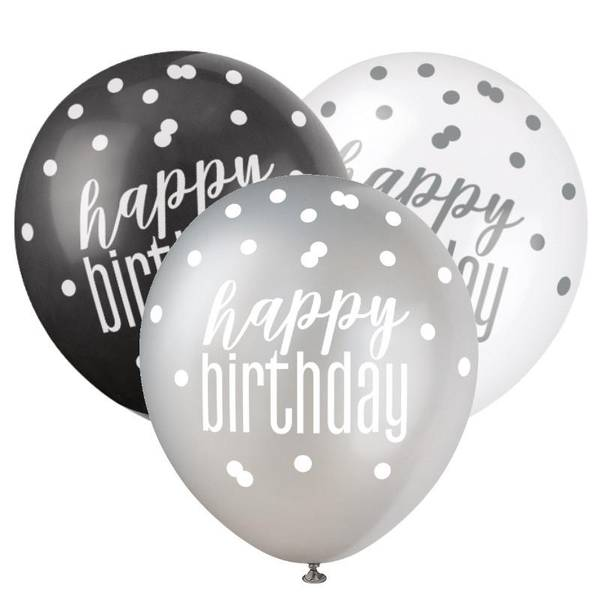 Bilde av Happy Birthday Ballonger Sort og Sølv Glitz 6stk