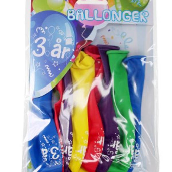 Bilde av Fargerike Ballonger  3 år, 8 stk