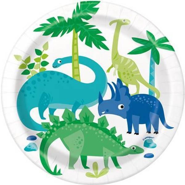 Bilde av Blå og Grønn Dinosaur Tallerken, 8 stk