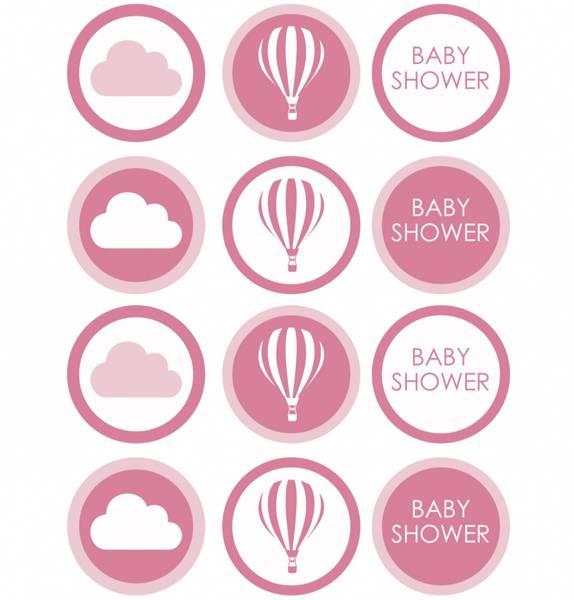 Bilde av Rosa Babyshower, Cupcakebilder, Sukkerpapir,12 stk
